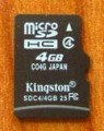 Kingston 4GB Micro SDHC Memory Card